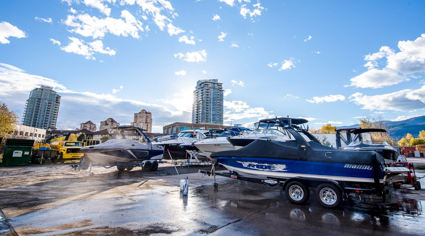 Indoor and Outdoor boat storage in Downtown Kelowna, BC - Flagship Marine